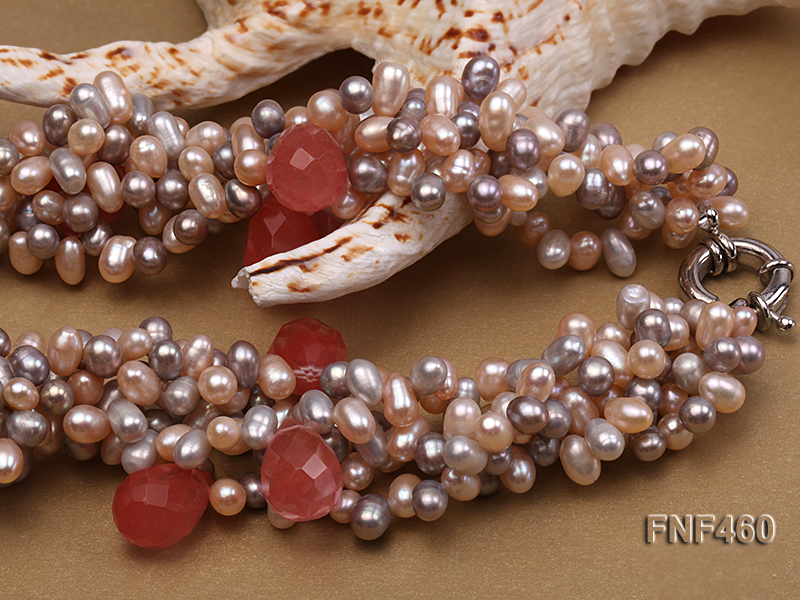 Five-strand 6-7mm Pink and Gray Freshwater Pearl Necklace with Pink Faceted Crystal Beads big Image 3