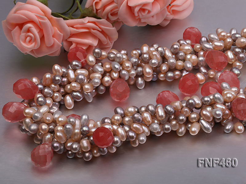 Five-strand 6-7mm Pink and Gray Freshwater Pearl Necklace with Pink Faceted Crystal Beads big Image 5