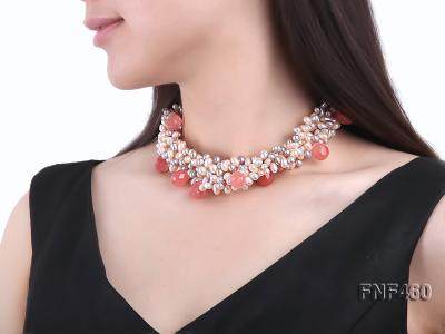 Five-strand 6-7mm Pink and Gray Freshwater Pearl Necklace with Pink Faceted Crystal Beads FNF460 Image 6