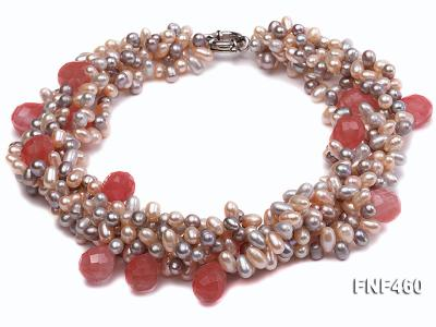 Five-strand 6-7mm Pink and Gray Freshwater Pearl Necklace with Pink Faceted Crystal Beads FNF460 Image 1