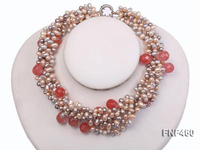 Five-strand 6-7mm Pink and Gray Freshwater Pearl Necklace with Pink Faceted Crystal Beads FNF460 Image 4