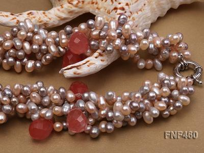 Five-strand 6-7mm Pink and Gray Freshwater Pearl Necklace with Pink Faceted Crystal Beads FNF460 Image 3