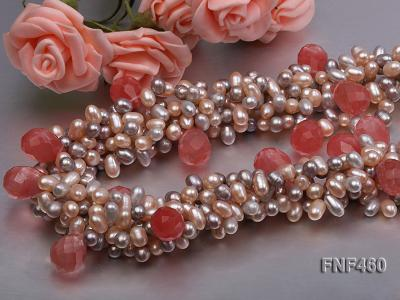 Five-strand 6-7mm Pink and Gray Freshwater Pearl Necklace with Pink Faceted Crystal Beads FNF460 Image 5