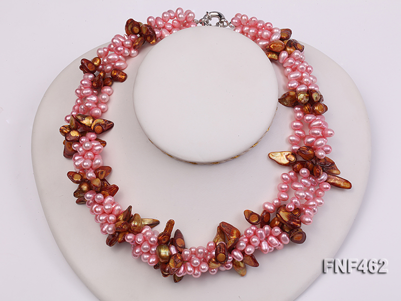 Four-strand 6-7mm Pink Freshwater Pearl and Coffee Baroque Pearl Necklace big Image 4