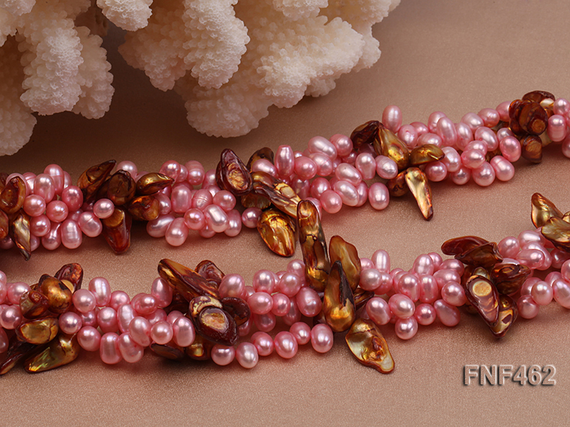 Four-strand 6-7mm Pink Freshwater Pearl and Coffee Baroque Pearl Necklace big Image 5