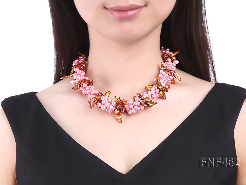 Four-strand 6-7mm Pink Freshwater Pearl and Coffee Baroque Pearl Necklace big Image 3