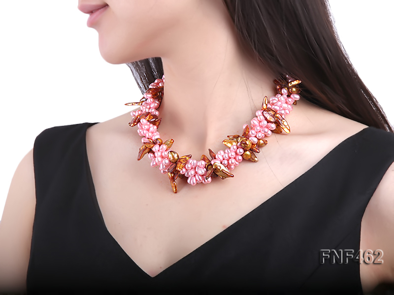 Four-strand 6-7mm Pink Freshwater Pearl and Coffee Baroque Pearl Necklace big Image 6