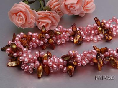 Four-strand 6-7mm Pink Freshwater Pearl and Coffee Baroque Pearl Necklace FNF462 Image 2