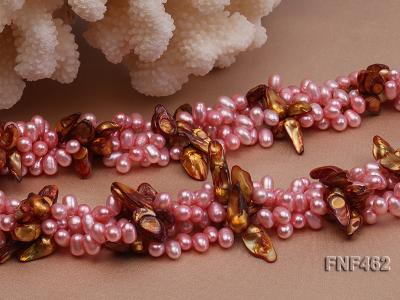 Four-strand 6-7mm Pink Freshwater Pearl and Coffee Baroque Pearl Necklace FNF462 Image 5