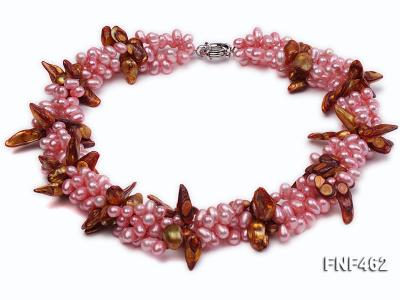 Four-strand 6-7mm Pink Freshwater Pearl and Coffee Baroque Pearl Necklace FNF462 Image 1
