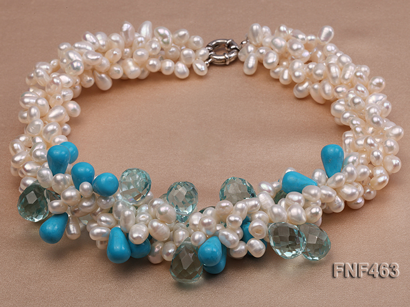Four-strand 5x7mm White Freshwater Pearl, Blue Crystal Beads and Turquoise Beads Necklace big Image 1