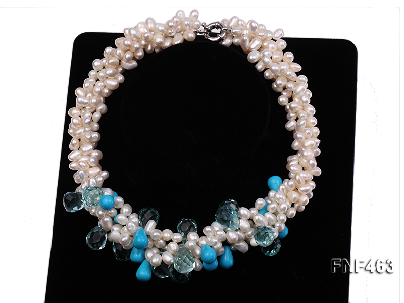 Four-strand 5x7mm White Freshwater Pearl, Blue Crystal Beads and Turquoise Beads Necklace big Image 3