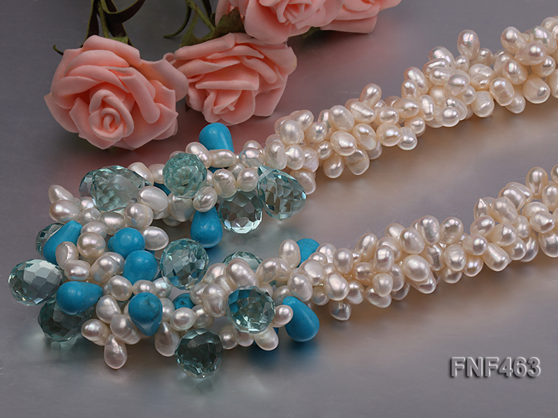 Four-strand 5x7mm White Freshwater Pearl, Blue Crystal Beads and Turquoise Beads Necklace big Image 4