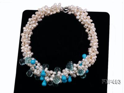 Four-strand 5x7mm White Freshwater Pearl, Blue Crystal Beads and Turquoise Beads Necklace FNF463 Image 3