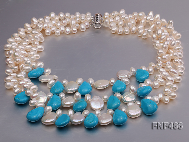 Three-strand 6-7mm White Freshwater Pearl, Button Pearl and Turquoise Beads Necklace big Image 1