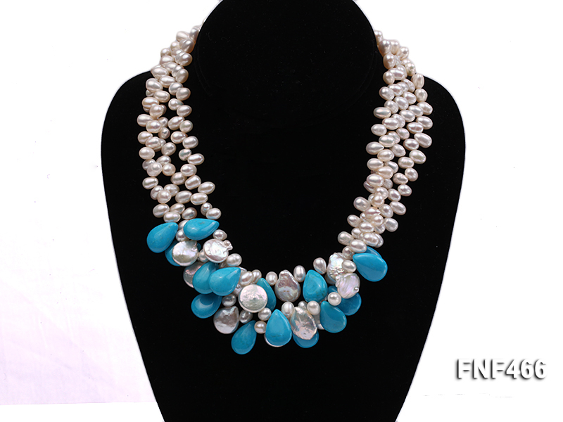 Three-strand 6-7mm White Freshwater Pearl, Button Pearl and Turquoise Beads Necklace big Image 3