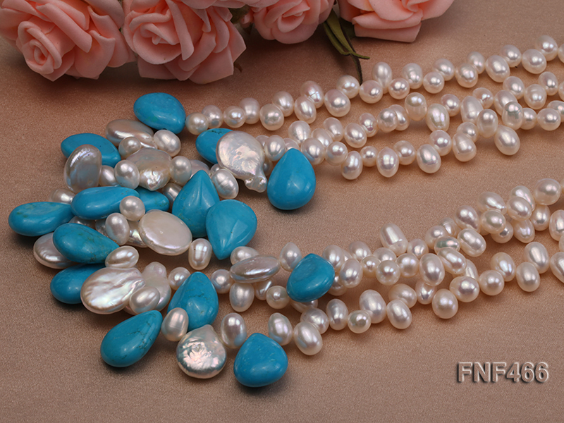 Three-strand 6-7mm White Freshwater Pearl, Button Pearl and Turquoise Beads Necklace big Image 4