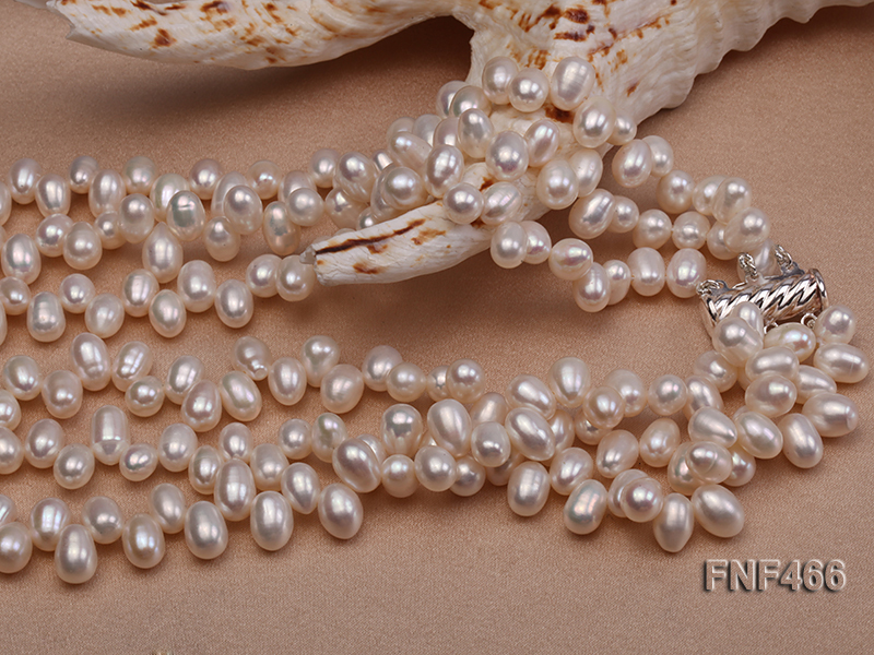 Three-strand 6-7mm White Freshwater Pearl, Button Pearl and Turquoise Beads Necklace big Image 5