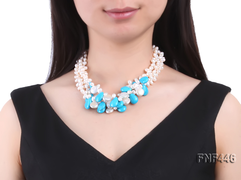 Three-strand 6-7mm White Freshwater Pearl, Button Pearl and Turquoise Beads Necklace big Image 2