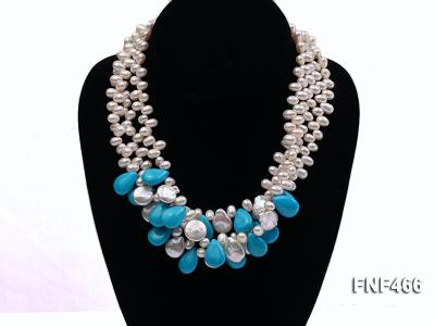 Three-strand 6-7mm White Freshwater Pearl, Button Pearl and Turquoise Beads Necklace FNF466 Image 3