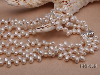 Three-strand 6-7mm White Freshwater Pearl, Button Pearl and Turquoise Beads Necklace FNF466 Image 5