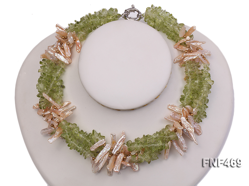 Four-strand 6x20mm Stick Freshwater Pearl and Olivine Chips Necklace big Image 3
