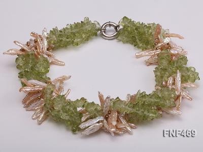 Four-strand 6x20mm Stick Freshwater Pearl and Olivine Chips Necklace FNF469 Image 1