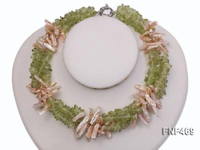 Four-strand 6x20mm Stick Freshwater Pearl and Olivine Chips Necklace FNF469 Image 3