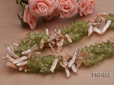 Four-strand 6x20mm Stick Freshwater Pearl and Olivine Chips Necklace FNF469 Image 5