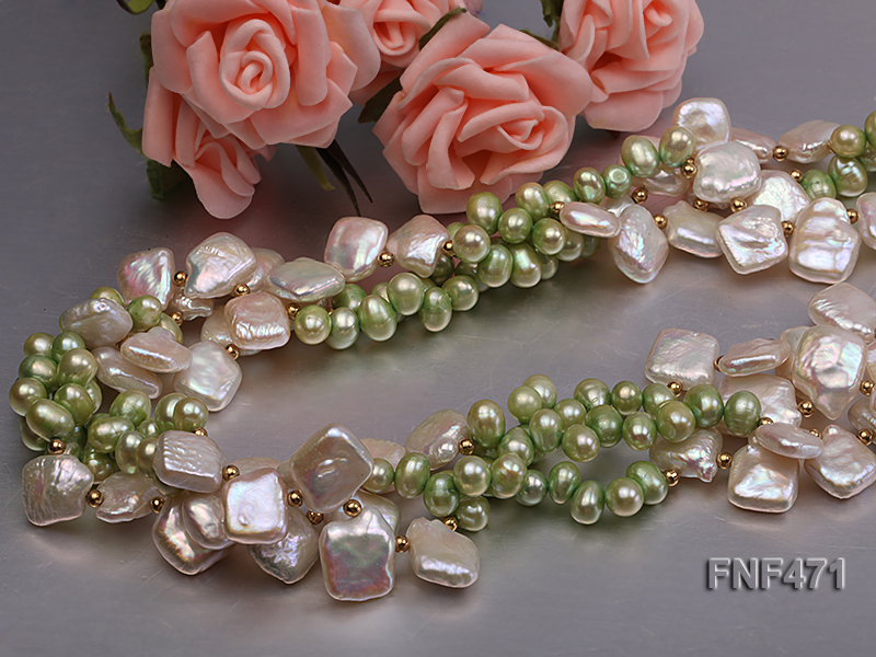 Three-strand 6-7mm Green Freshwater Pearl and White Button Pearl Necklace big Image 2