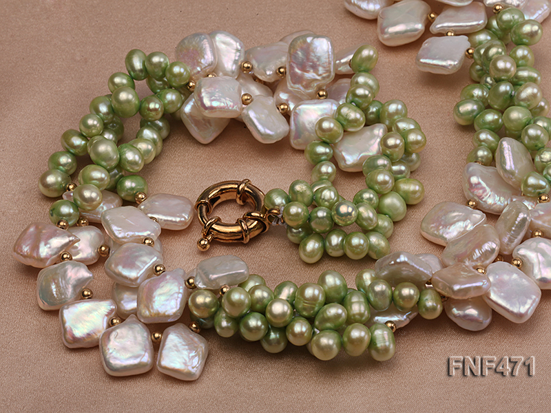 Three-strand 6-7mm Green Freshwater Pearl and White Button Pearl Necklace big Image 3