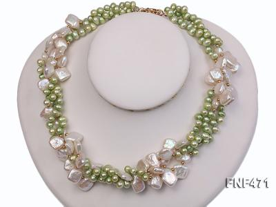 Three-strand 6-7mm Green Freshwater Pearl and White Button Pearl Necklace FNF471 Image 4