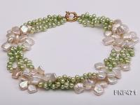Three-strand 6-7mm Green Freshwater Pearl and White Button Pearl Necklace FNF471