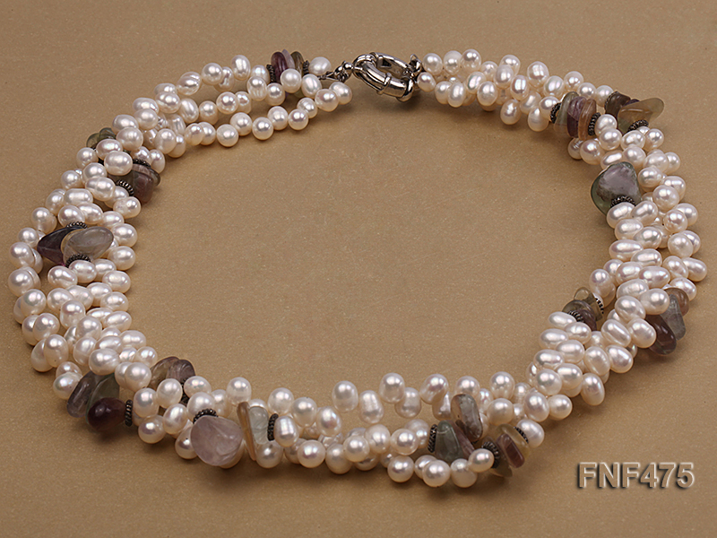 Three-strand 6-7mm White Side-drilled Freshwater Pearl and Fluorite Chips Necklace big Image 1