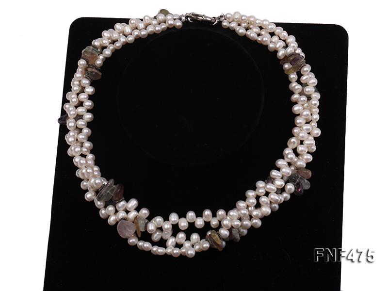 Three-strand 6-7mm White Side-drilled Freshwater Pearl and Fluorite Chips Necklace big Image 2