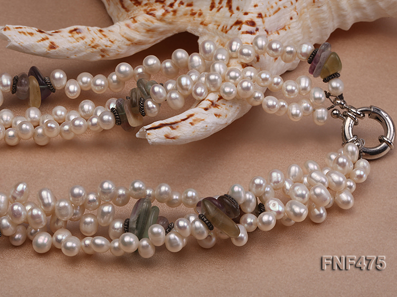 Three-strand 6-7mm White Side-drilled Freshwater Pearl and Fluorite Chips Necklace big Image 3