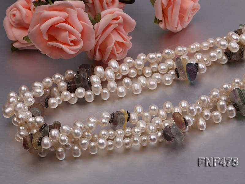 Three-strand 6-7mm White Side-drilled Freshwater Pearl and Fluorite Chips Necklace big Image 5