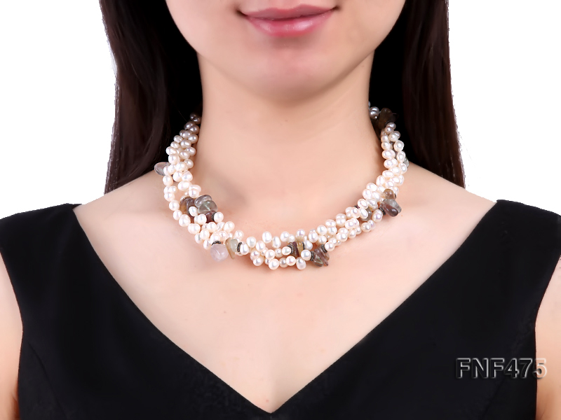 Three-strand 6-7mm White Side-drilled Freshwater Pearl and Fluorite Chips Necklace big Image 4
