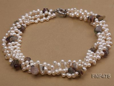 Three-strand 6-7mm White Side-drilled Freshwater Pearl and Fluorite Chips Necklace FNF475 Image 1