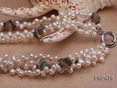 Three-strand 6-7mm White Side-drilled Freshwater Pearl and Fluorite Chips Necklace FNF475 Image 3