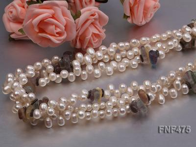 Three-strand 6-7mm White Side-drilled Freshwater Pearl and Fluorite Chips Necklace FNF475 Image 5