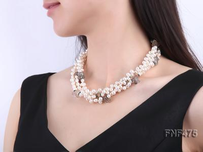 Three-strand 6-7mm White Side-drilled Freshwater Pearl and Fluorite Chips Necklace FNF475 Image 6