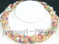 3 strand pink freshwater pearl and colorfu crystal necklace FNF477