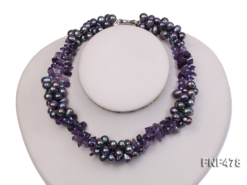 Three-strand 7x9mm Dark-purple Freshwater Pearl and Purple Crystal Chips Necklace big Image 2