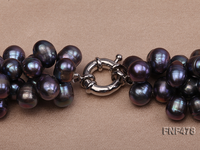 Three-strand 7x9mm Dark-purple Freshwater Pearl and Purple Crystal Chips Necklace big Image 4