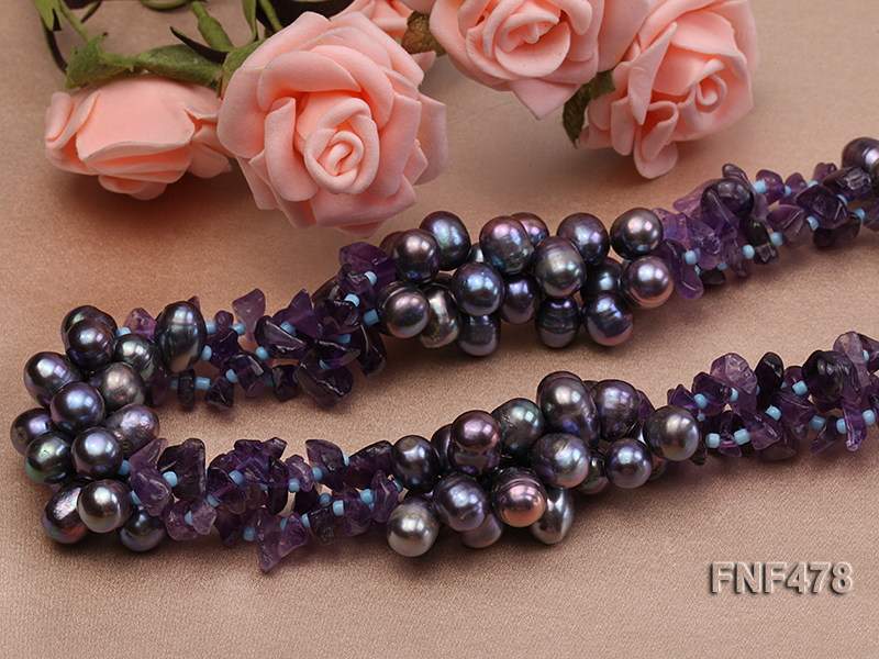 Three-strand 7x9mm Dark-purple Freshwater Pearl and Purple Crystal Chips Necklace big Image 5
