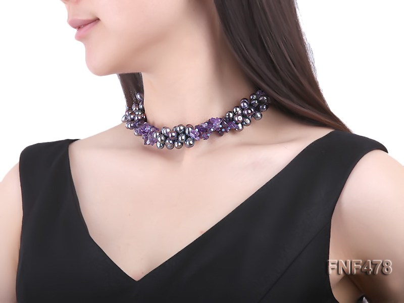 Three-strand 7x9mm Dark-purple Freshwater Pearl and Purple Crystal Chips Necklace big Image 6