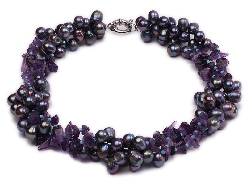 Three-strand 7x9mm Dark-purple Freshwater Pearl and Purple Crystal Chips Necklace big Image 1