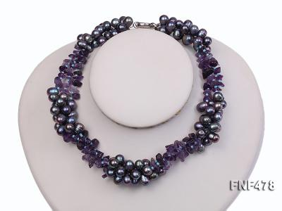Three-strand 7x9mm Dark-purple Freshwater Pearl and Purple Crystal Chips Necklace FNF478 Image 2