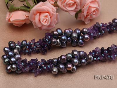 Three-strand 7x9mm Dark-purple Freshwater Pearl and Purple Crystal Chips Necklace FNF478 Image 5